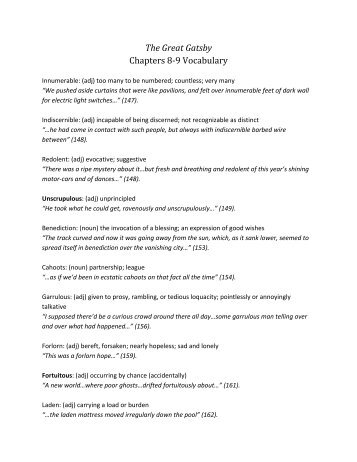 the great gatsby chapters 3 and 4 vocabulary prodigal adj
