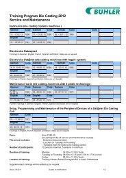 Training Program Die Casting 2012 Service and Maintenance
