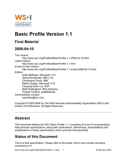 WS-I Basic Profile Version 1.1 - instructional media + magic