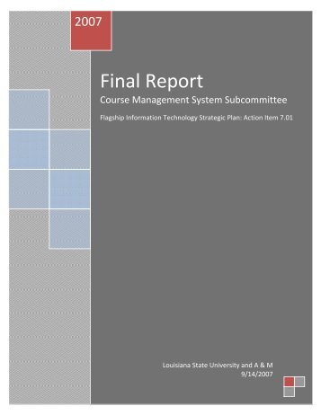 Final Report, Course Management System Subcommittee, Flagship ...