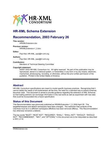 HR-XML Schema Extension