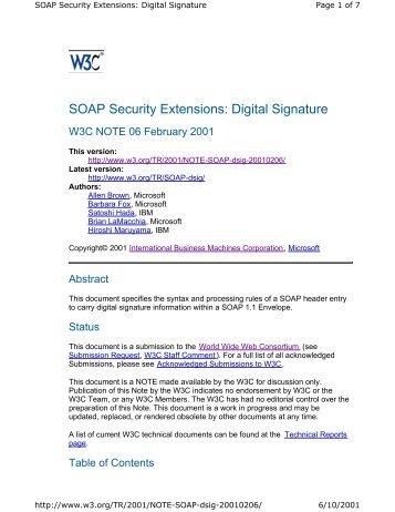 SOAP Security Extensions: Digital Signature