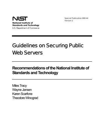 NIST 800-44 Version 2 Guidelines on Securing Public Web Servers