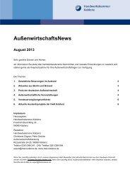 Die aktuelle Ausgabe der AußenwirtschaftsNews für August 2013 ...