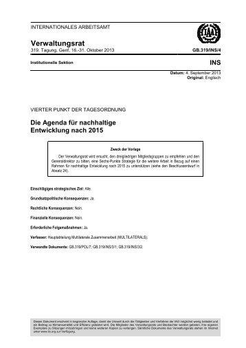 Die Agenda für nachhaltige Entwicklung nach 2015