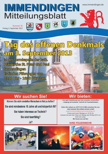 Mitteilungsblatt KW36 - Immendingen