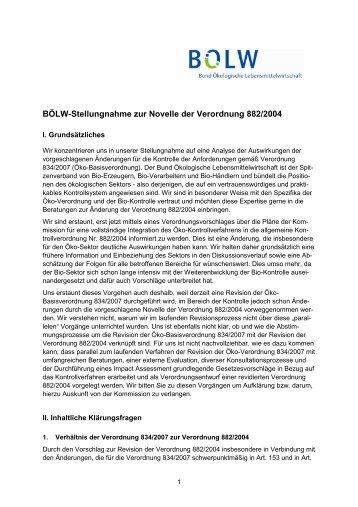 Stellungnahme zur Novelle der Verordnung 882/2004 - Bund ...