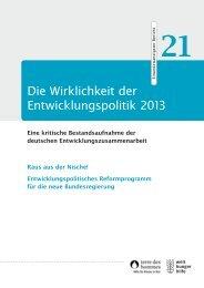 Die Wirklichkeit der Entwicklungspolitik 2013 - Welthungerhilfe