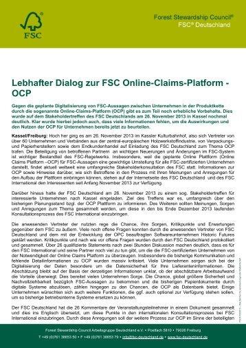 Bericht zum OCP Stakeholdertreffen in Kassel ... - FSC-Deutschland