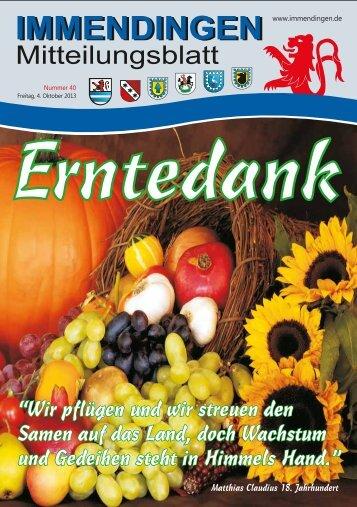 Mitteilungsblatt KW 40 - Immendingen