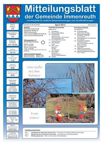 Mitteilungsblatt April 2013 - Teil 1 - Immenreuth