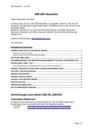IBM DB2 Newsletter  Inhaltsverzeichnis Anmerkungen zum letzten ...