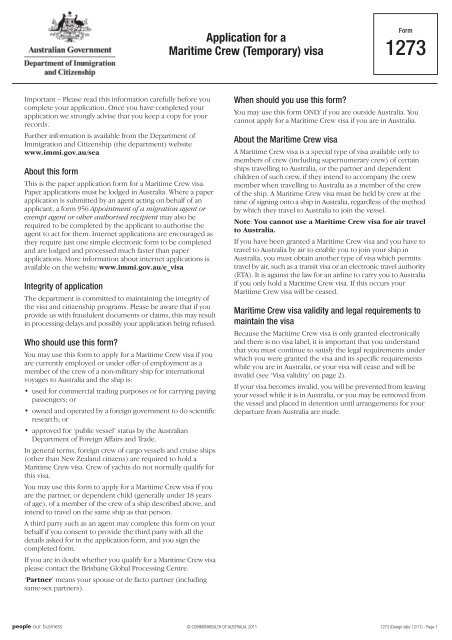 1273 Application For A Maritime Crew Temporary Visa