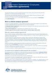 Information Statement for Employees - Collective agreements