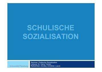 SCHULISCHE SOZIALISATION - Dr. Hans Toman