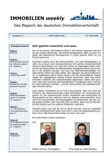 Immobilien weekly Ausgabe 17 vom 27 Mai 2009 - Degewo