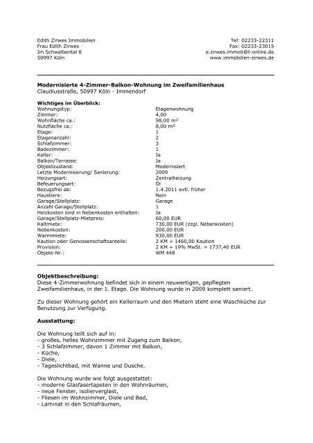 Modernisierte 4-Zimmer-Balkon-Wohnung im ... - Zirwes Immobilien