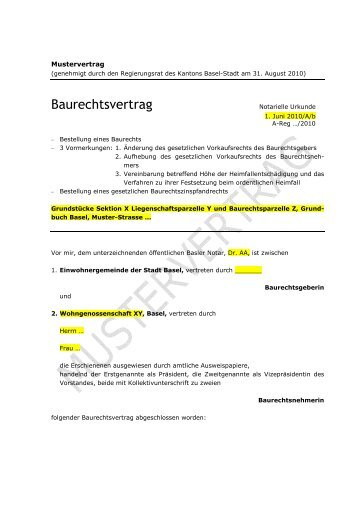 2010.08.31_Mustervertrag Baurechtsvertrag Plus 1 - Immobilien ...