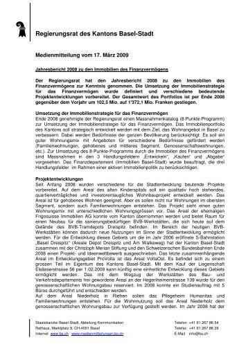 RRG 9 FV_Reporting 2008_1 - Immobilien Basel-Stadt