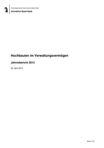 Jahresbericht Hochbauten Verwaltungsvermögen 2012 - Immobilien ...