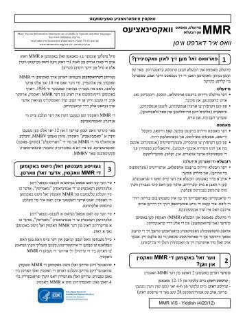 VIS MMR (Measles, Mumps, Rubella) Vaccine - Yiddish