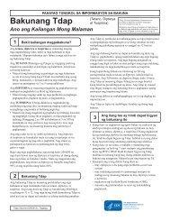 Vaccine Information Statement: TdaP - Tagalog