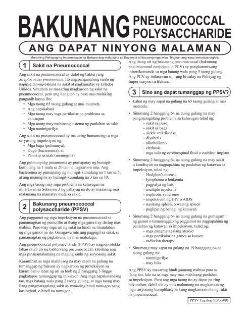 VIS Pneumococcal Polysaccharide vaccine Tagalog