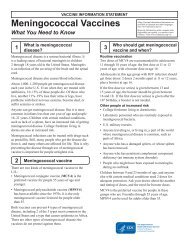 Vaccine Information Statement: Meningococcal Vaccines: What you ...