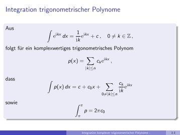 Integration trigonometrischer Polynome - imng