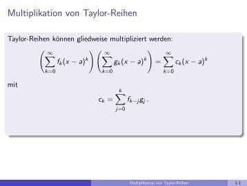 Multiplikation von Taylor-Reihen - imng
