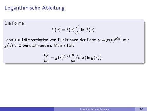 Logarithmische Ableitung - imng
