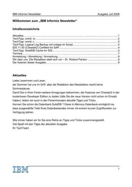 Informix Newsletter 07/2008 - The Informix Zone