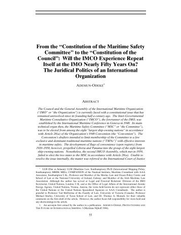 """From the """"Constitution of the Maritime Safety Committee"""" to the ... - IMO"""