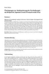 Überlegungen zur Akademisierung der Psychotherapie – am ...