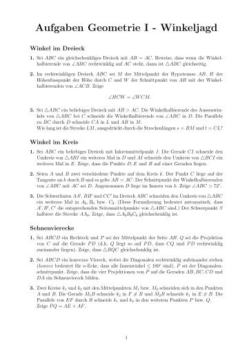 Geometrie I - Aufgaben - Schweizer Mathematik-Olympiade
