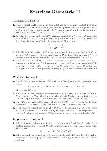 Exercices Géométrie II