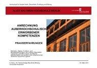 Anrechnung außerhochschulisch erworbener Kompetenzen - KIBB