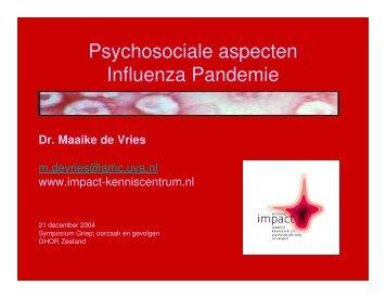 Psychosociale aspecten Influenza Pandemie - Impact