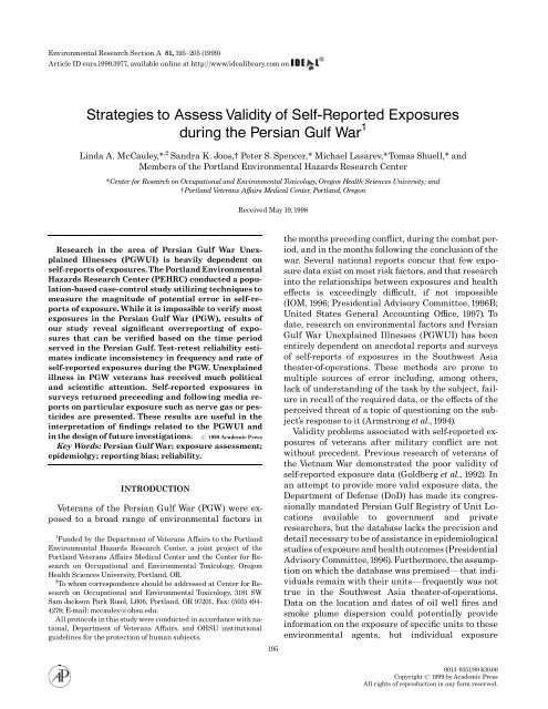 Strategies to Assess Validity of Self-Reported Exposures ... - Impact