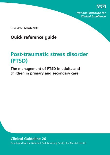 Quick reference guide Post-traumatic stress disorder (PTSD) - Impact