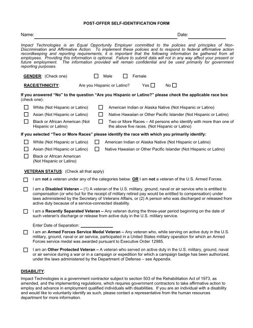 POST-OFFER SELF IDENTIFICATION FORM - Impact Technologies