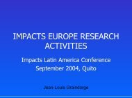 IMPACTS Europe Research activities