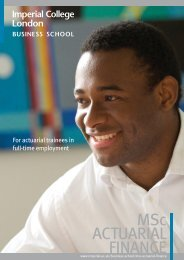 MSc ACTUARIAL FINANCE - Imperial College London
