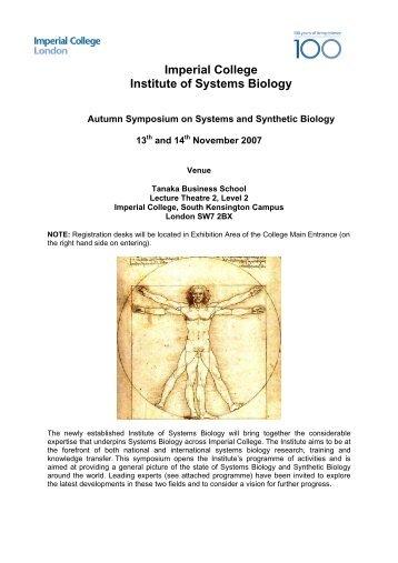 Autumn Symposium programme 2007 - Imperial College London