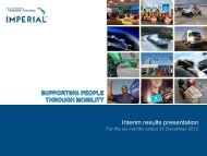 Unaudited interim results presentation (pdf) - Imperial