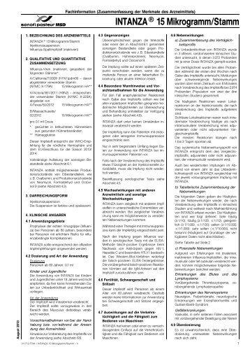 INTANZA® 15 Mikrogramm/Stamm - Impfkritik.de
