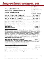 Aktuelle EU-NEUWAGEN – Preisliste für das Modell Jahr 2013