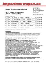 """Angebote VW T5 TRANSPORTER KOMBI """"SPACE & COOL"""""""