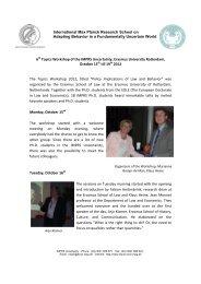 Report - International Max-Planck Research School