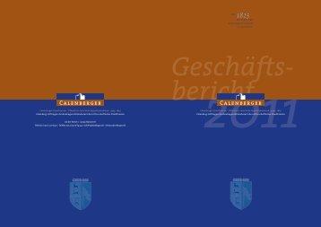 Geschäftsbericht 2011 - Calenberger Kreditverein